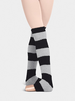 Adult/Child Two-Tone Striped Fuzzy 18 Legwarmers