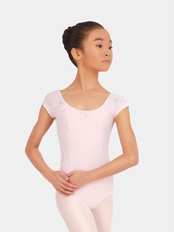 Girls Cap Sleeve Eyelet Strappy Back Leotard