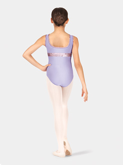 Girls/Tween Eileen Metallic Velvet Boatneck Tank Leotard