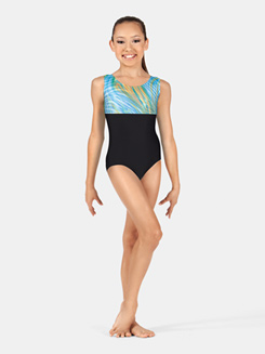 Girls Tank Gymnastics Two-Tone Leotard