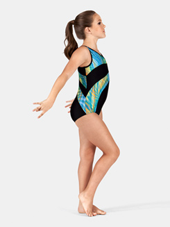 Girls Tank Gymnastics Two-Tone V-Neck Leotard