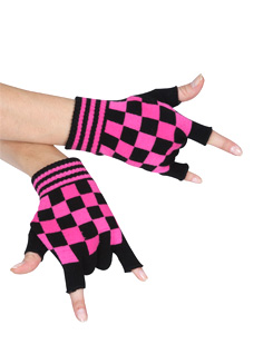 Pink Checkered Gloves 