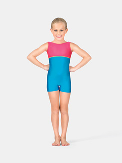 Child Gymnastics Tank Color Block Biketard