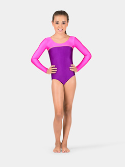 Child Gymnastics Long Sleeve Color Block Leotard