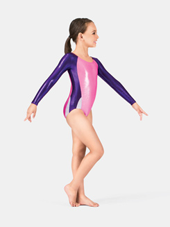 Child Gymnastics Long Sleeve Metallic Leotard