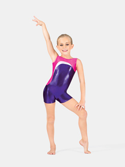 Child Gymnastics Tank Metallic Insert Biketard