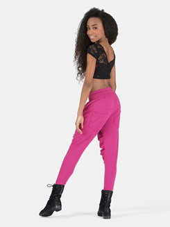 Girls Zipper Pocket Harem Sweat Pants