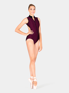 Adult Zipper Front Two Tone Tank Leotard