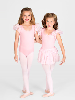 Girls Double Flutter Sleeve Dance Leotard