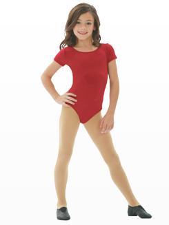 Child Short Sleeve Leotard w/ X-Cross Straps