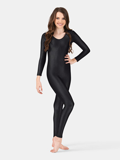 Girls Nylon Scoop Neck Long Sleeve Unitard