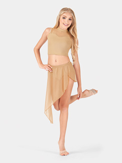 Girls Asymmetrical Faux Wrap Skirt