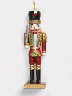 Wooden Glitter Nutcracker Ornament
