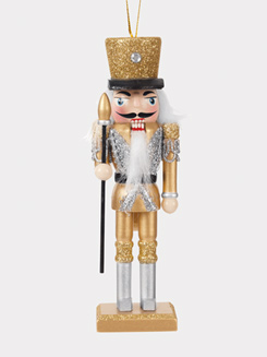 Wooden Gold/Silver Nutcracker Ornament