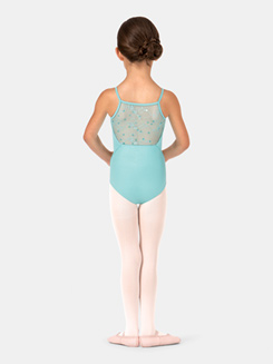 Child Sequin Embroidered Mesh Camisole Leotard