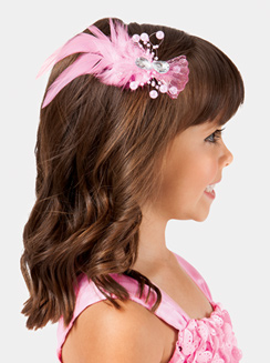 Gem & Feather Mesh Bow Clip