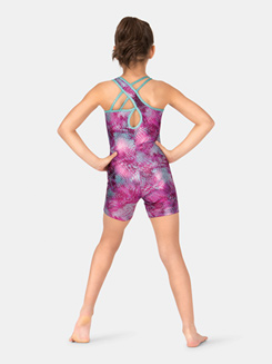 Child Printed Asymmetrical Shorty Unitard