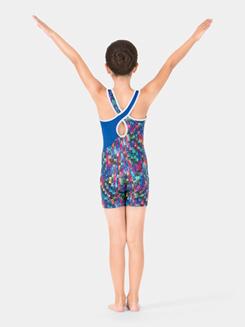 Child Printed Gymnastics Tank Shorty Unitard