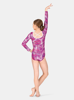 Child Long Sleeve Sound Wave X-Back Leotard