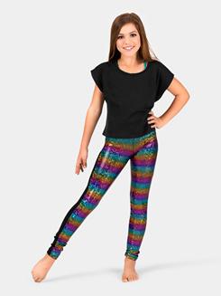Girls Rainbow Sequin Front Panel Legging