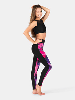 Adult Pink Swirl Front Panel Legging