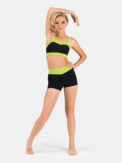 Girls Banded Color Block Dance Short