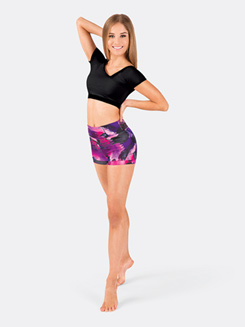 Adult Pink Swirl Banded Leg Dance Shorts