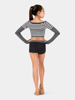 Girls Striped Warm-up Crop Top