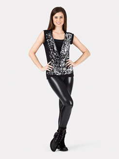 Adult Cap Sleeve Sequin Draped Top