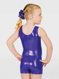Child Metallic Gymnastic Tank Biketard 