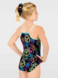 Child Neon Peace Gymnastic Camisole Leotard 