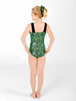 Child Asymmetrical Gymnastic Boat Neck Leotard 