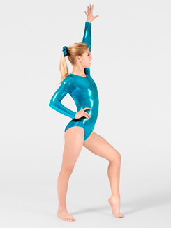 Child Metallic Long Sleeve Gymnastic Leotard