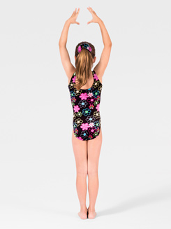 Flower Peace Child Gymnastic Velvet Tank Leotard 