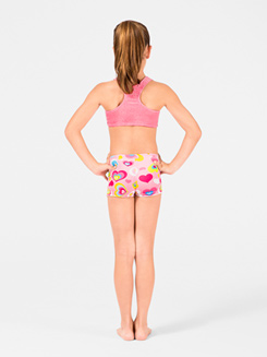 Heart Print Child Velvet Gymnastic Short 