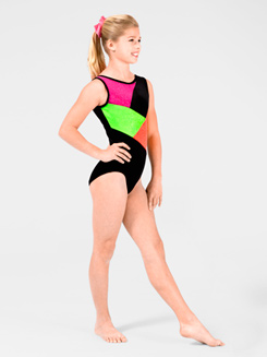 Stardust Child Color Block Gymnastic Tank Leotard 
