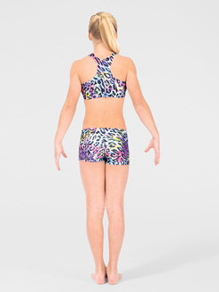 Child Metallic Rainbow Cheetah Gymnastic Short