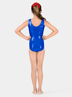 Child Metallic Tank Leotard with Velvet Bodice