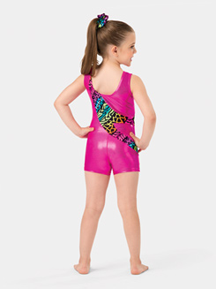 Child Printed Tank Gymnastics Shorty Unitard