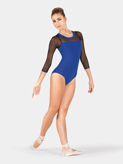 Adult Mesh 3/4 Sleeve Leotard with Color Body