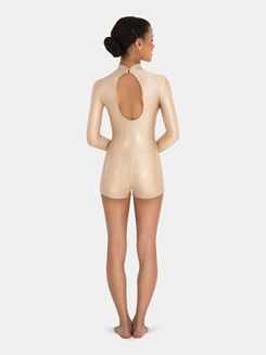 Adult Dashed Gold Long Sleeve Shorty Unitard
