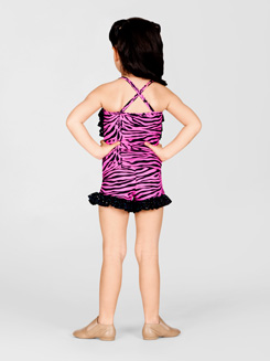 Child Pink Zebra Ruffle Cami Top 