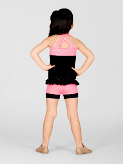 Child Pink Sequin Top With Front Belt 