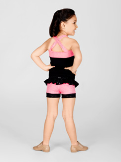 Child Pink Sequin Short With Ruffle Waist