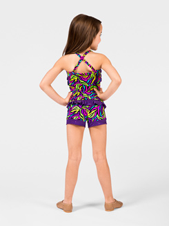 Child Neon Zebra Ruffle Short