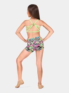 Girls Neon Splatter Print Dance Short