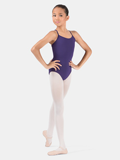 Girls Camisole Leotard With Mesh Panel