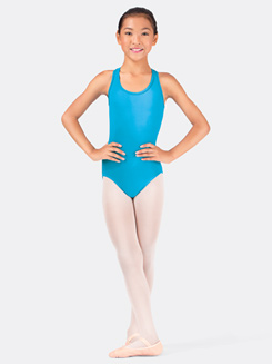 Girls Mock Halter Leotard With Crossed Straps