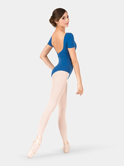 Adult Brushed Cotton V-Back Short Sleeve Leotard