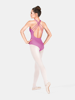 Adult Halter High Neck Drape Front Leotard